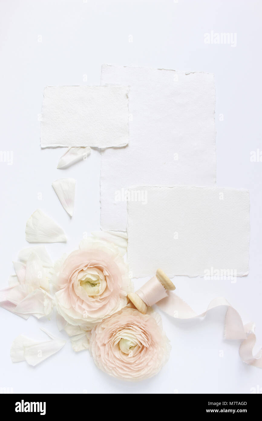 Feminine Wedding Birthday Desktop Mock Up Scene Blank Craft Paper