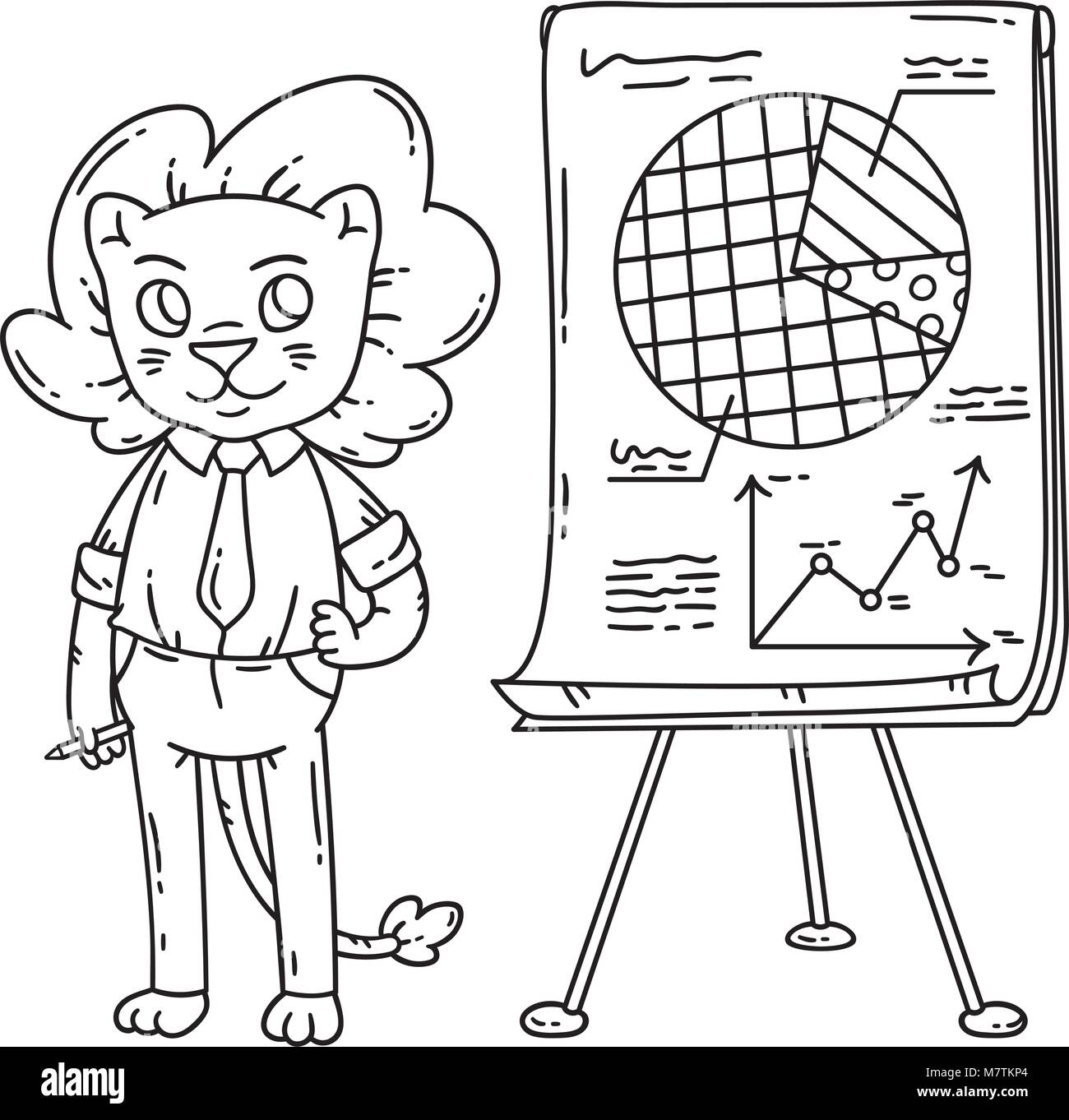 Lion teacher with a board on a tripod. Vector illustration. Coloring ...