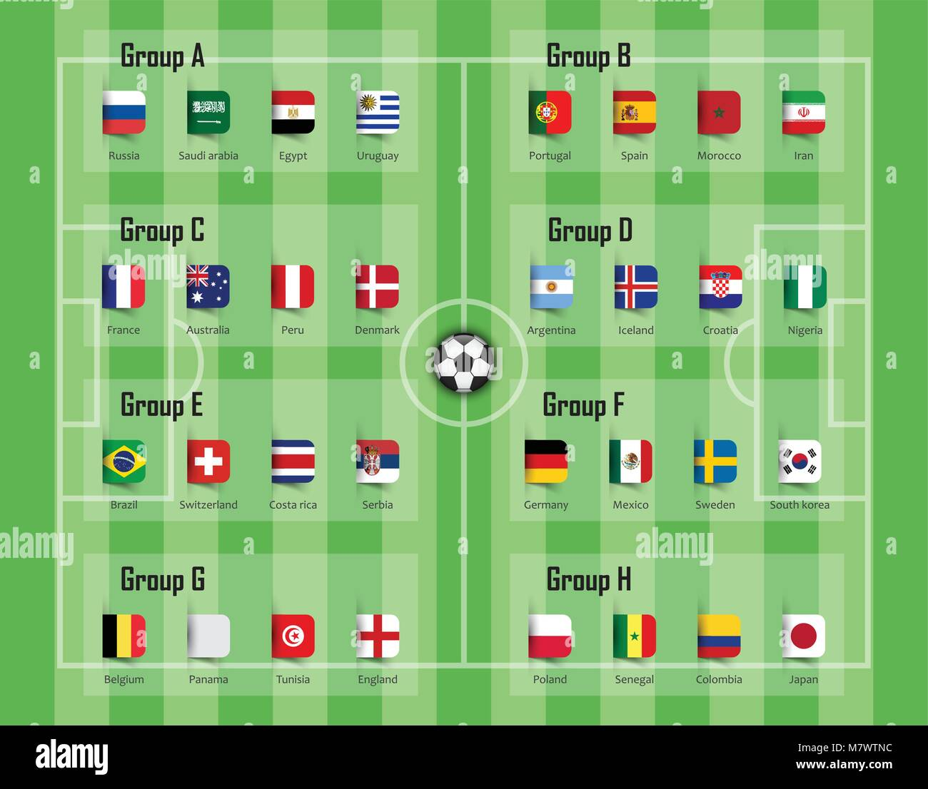 Soccer cup 2018 team group and national flags . Vector for international  world championship tournament . 5b3d574b5