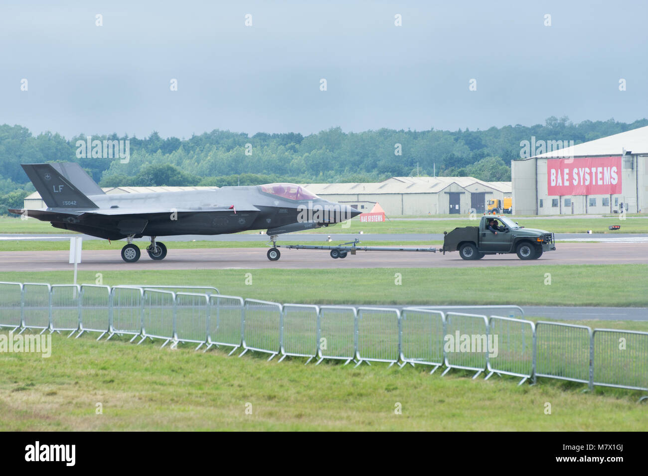F35 Lockheed Martin Jet Being Towed To The Runway Stock Photo