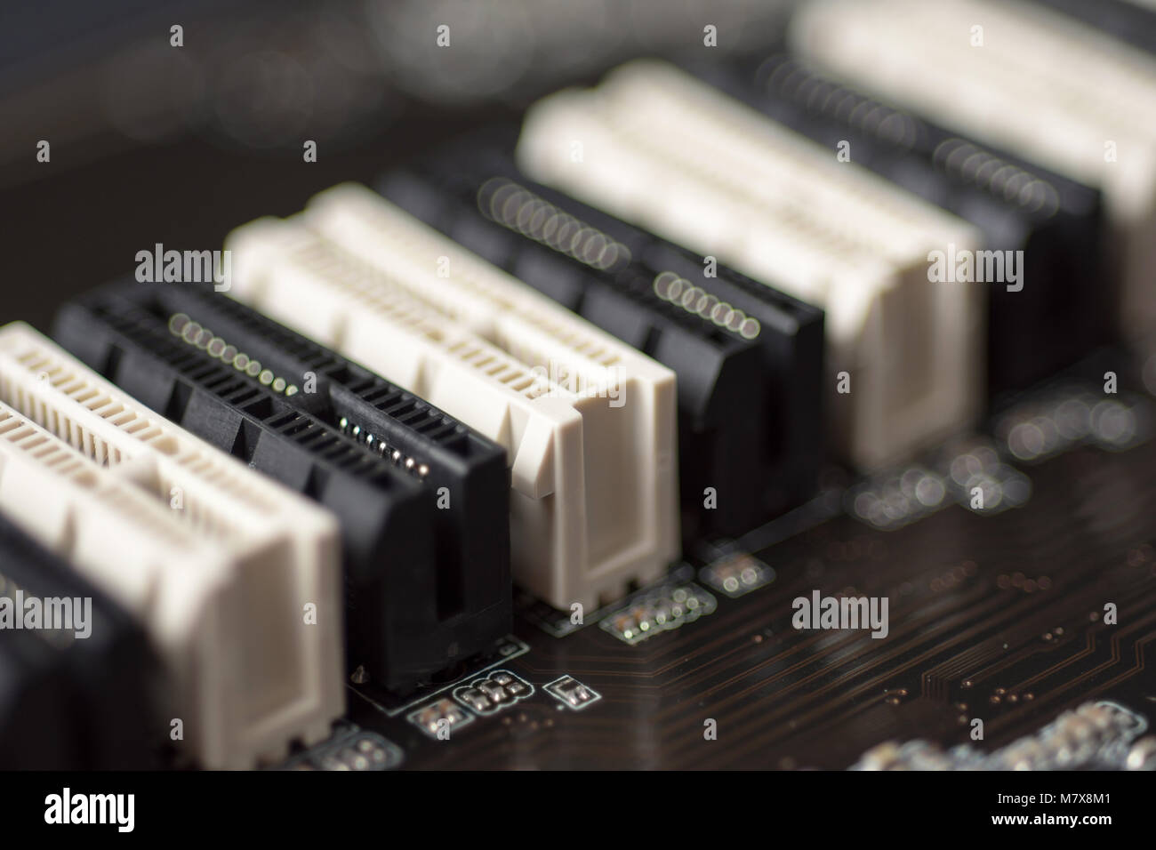 Pci E Slots Close Up Printed Circuit Board Computer Motherboard Background