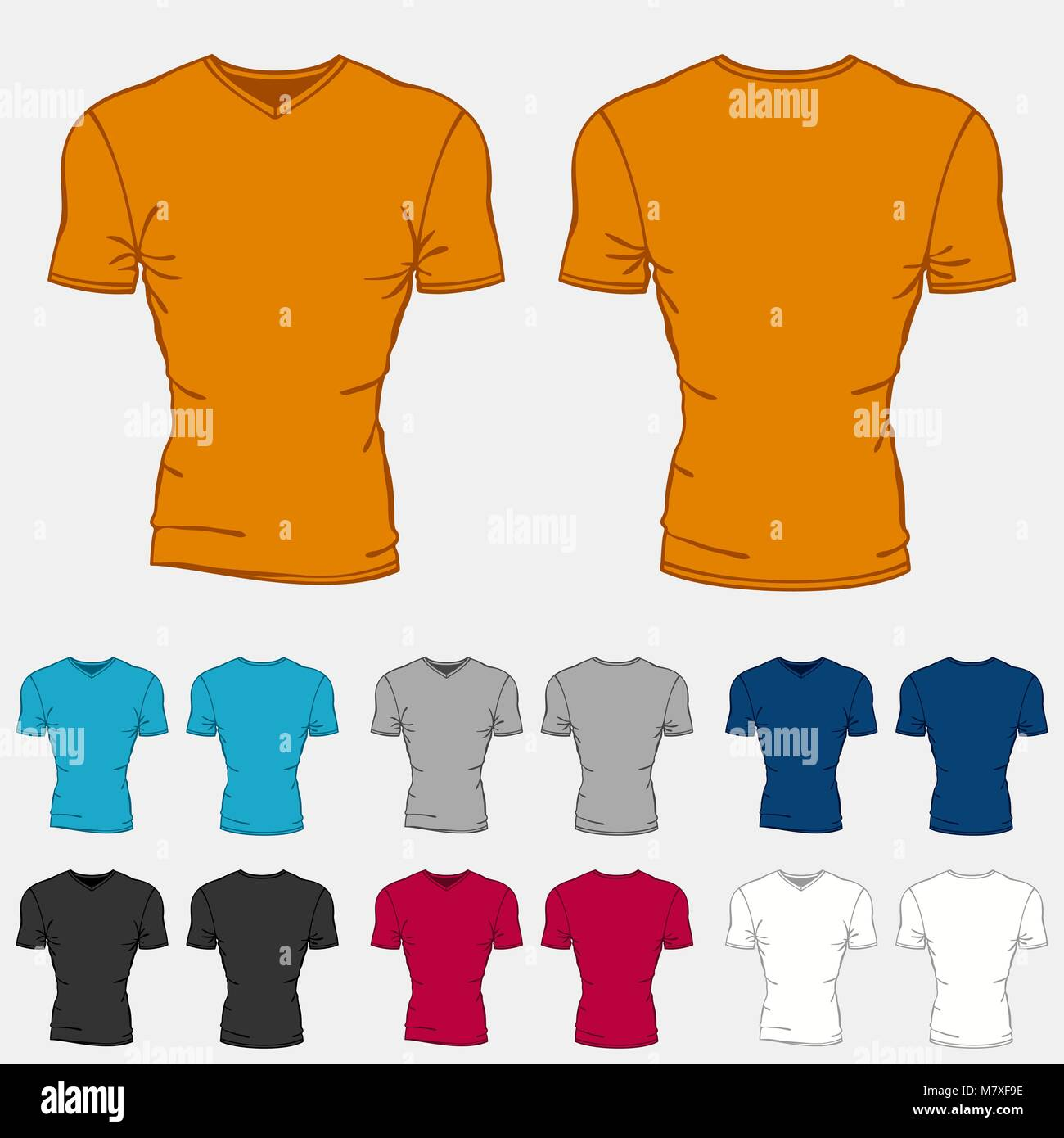 Set of colored t-shirts templates for men Stock Vector Art ...