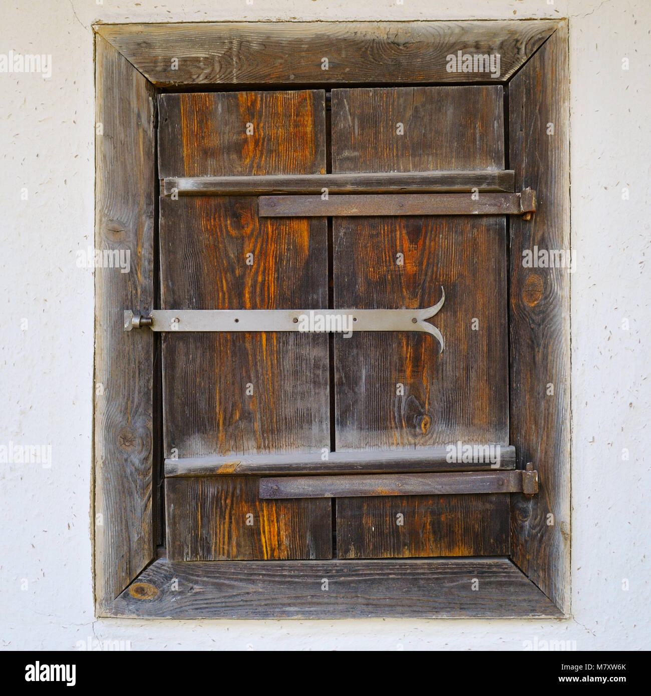 house window shutters interior old wooden window shutters on the clay wall of house stock photo