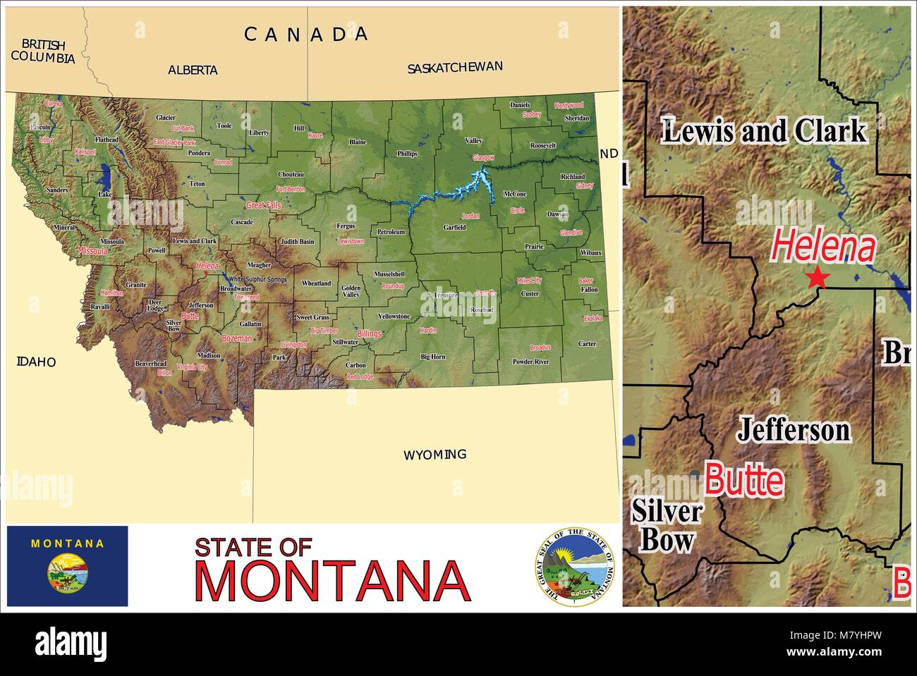 Montana State Map With Counties.Montana State Counties Administrative Divisions Stock Vector Art