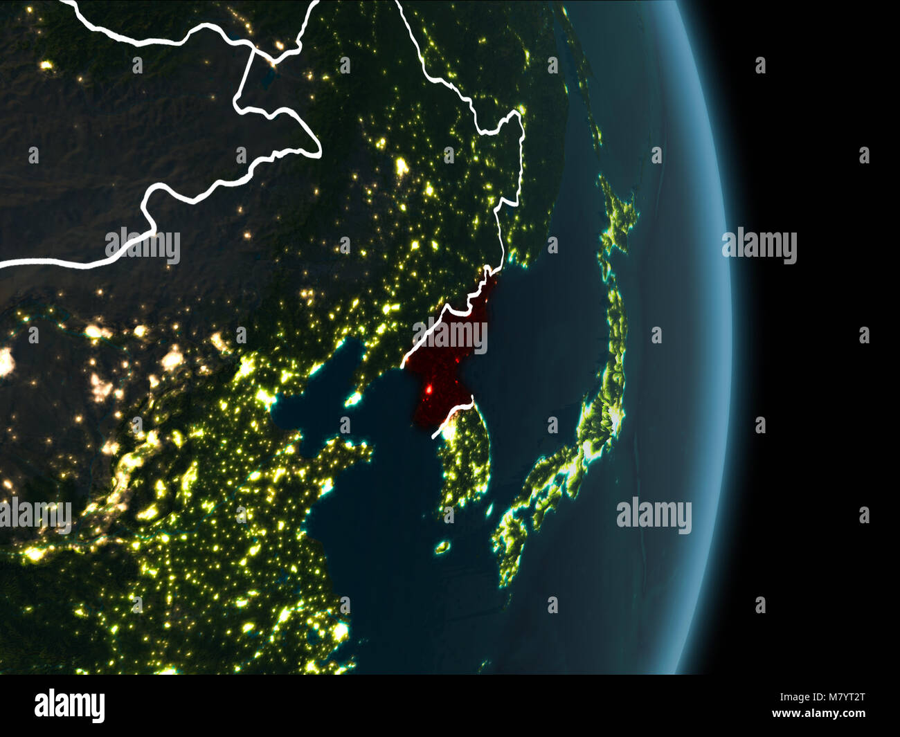 Map of north korea in red as seen from space on planet earth at map of north korea in red as seen from space on planet earth at night with white borderlines and city lights 3d illustration elements of this image gumiabroncs