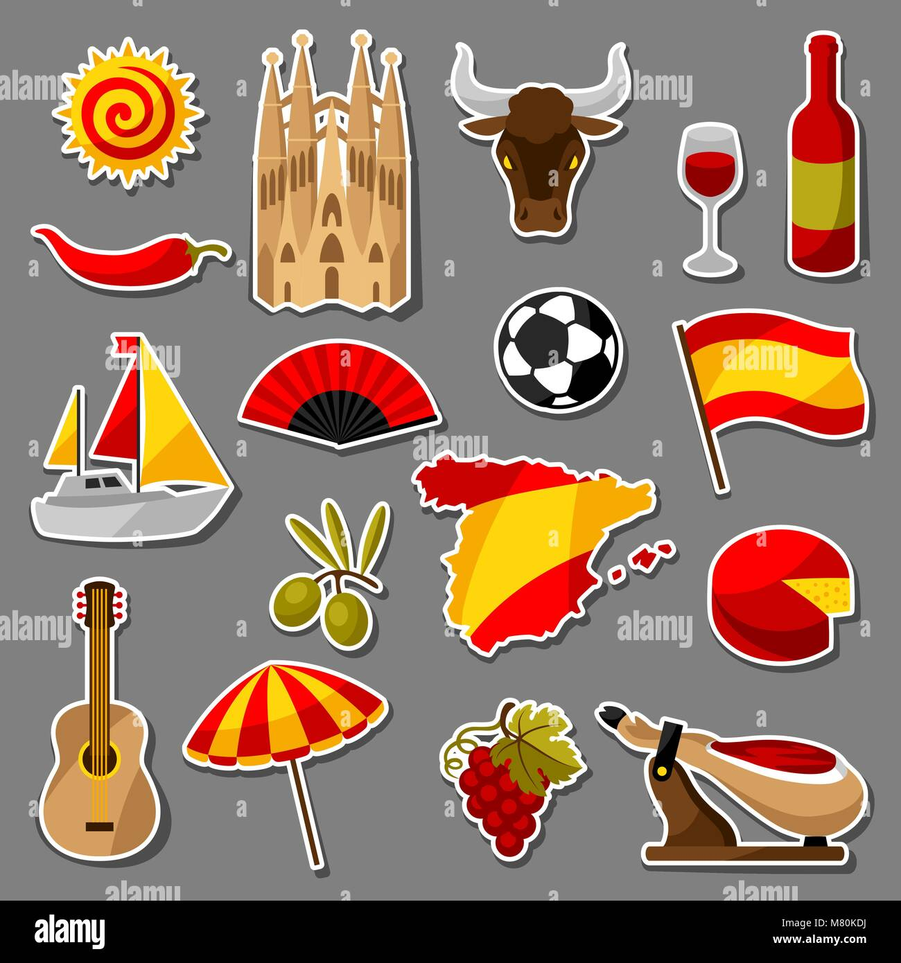 Spain Sticker Icons Set Spanish Traditional Symbols And Objects