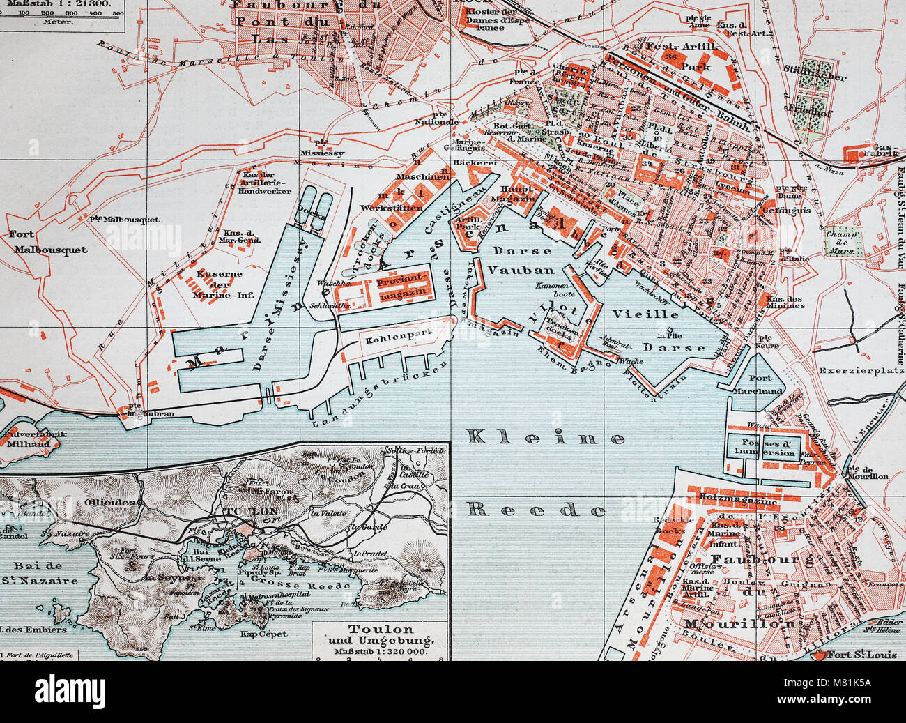 city map from the year 1892 Toulon France digital improved Stock