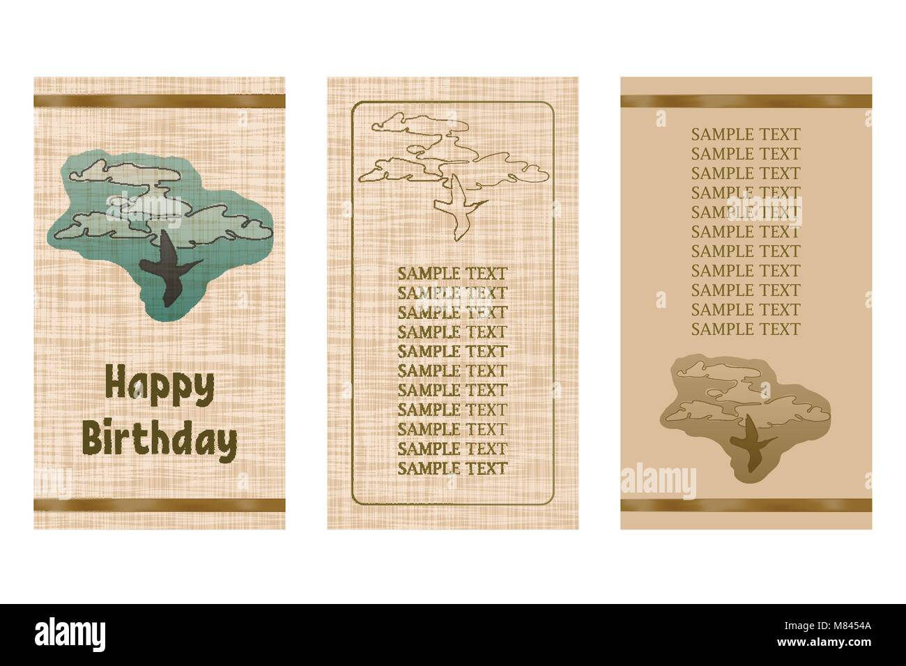 Happy Birthday Greeting Card Three Different Vector Patterns Stock