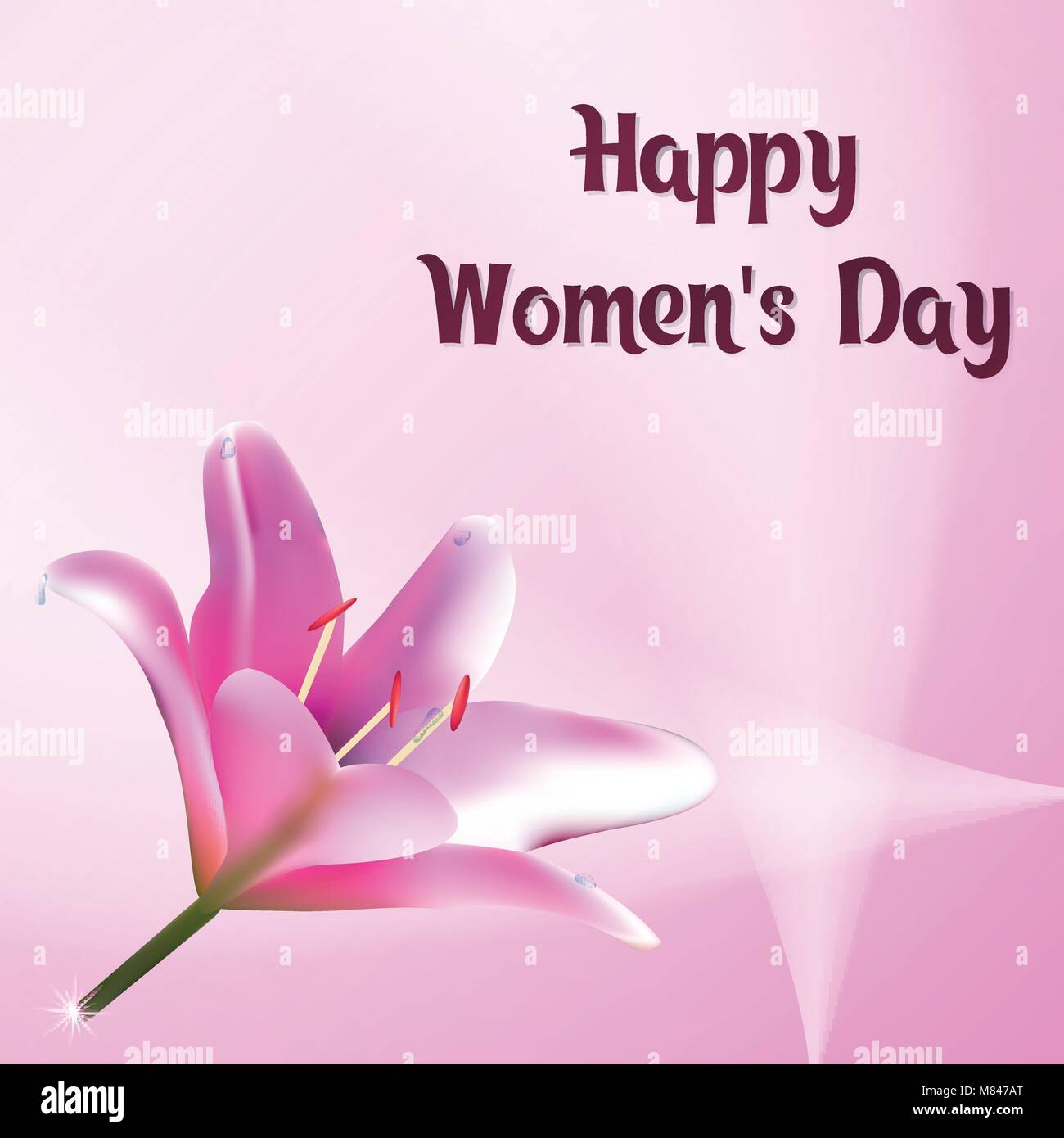 happy women s day greeting card with flower of lily template stock