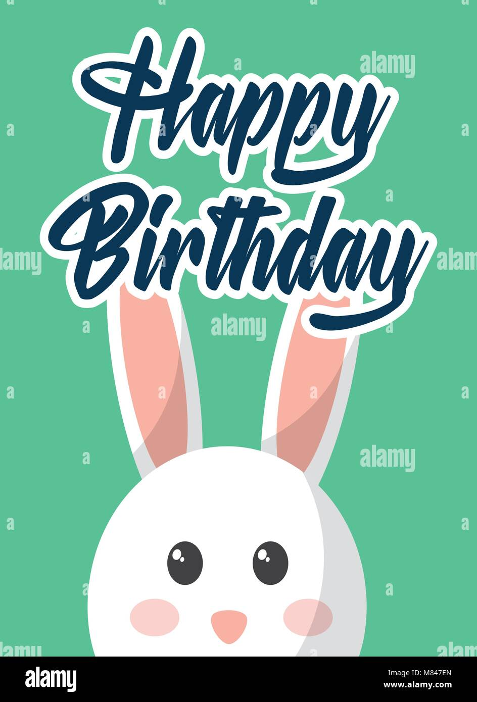 Happy Birthday Card Cute Rabbit Decoration Vector Illustration