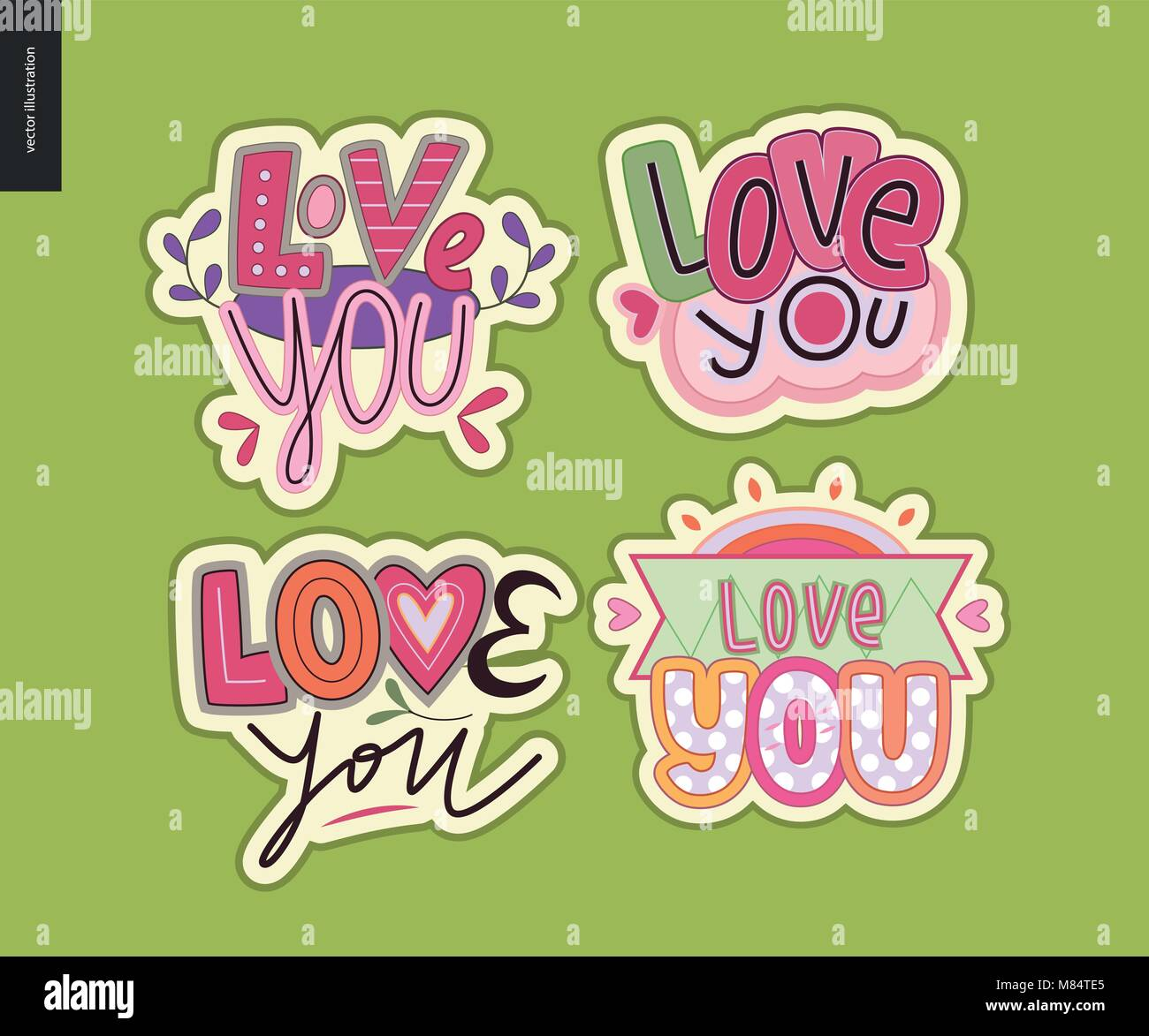 set of contemporary girlie love you letter logo a set of vector