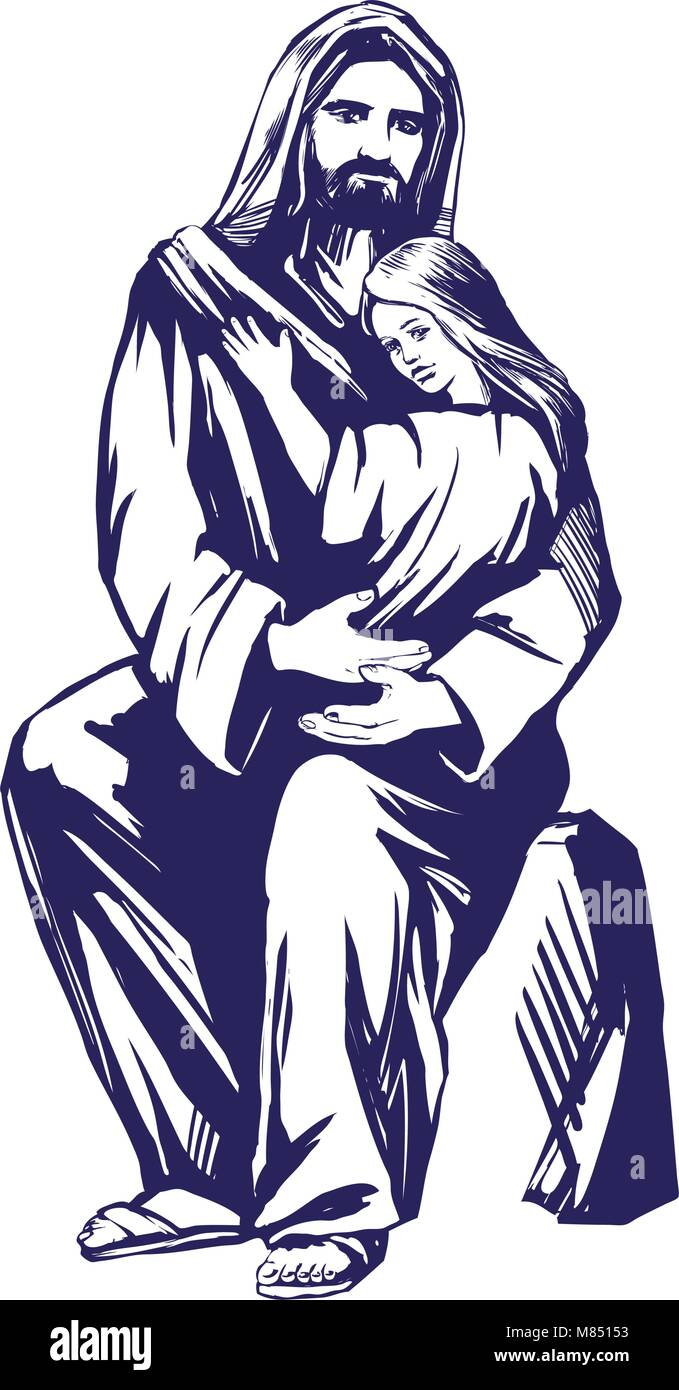 Jesus christ son of god holding a child in his hands symbol of jesus christ son of god holding a child in his hands symbol of christianity hand drawn vector illustration sketch buycottarizona Image collections