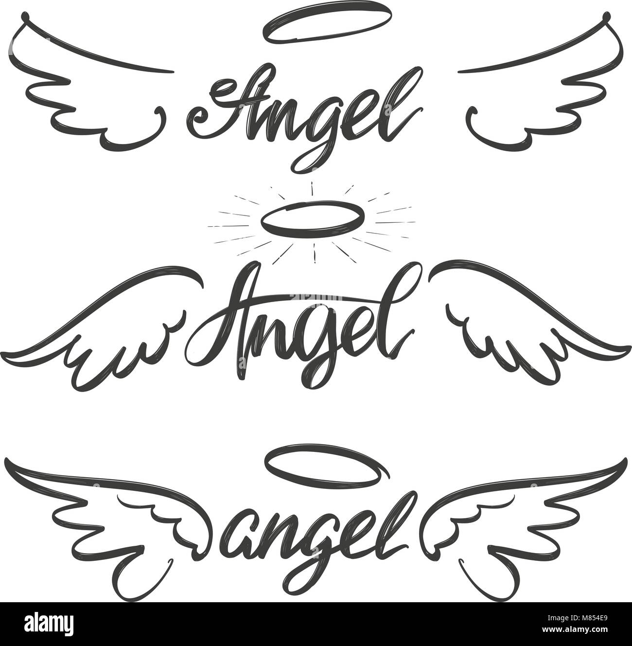 Drawing angel illustration stock photos drawing angel angel wings icon sketch collection religious calligraphic text symbol of christianity hand drawn vector illustration buycottarizona Images