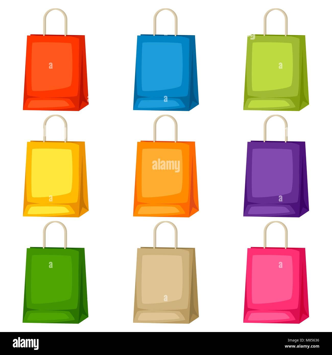 colored shopping bags templates set of promotional gifts and stock