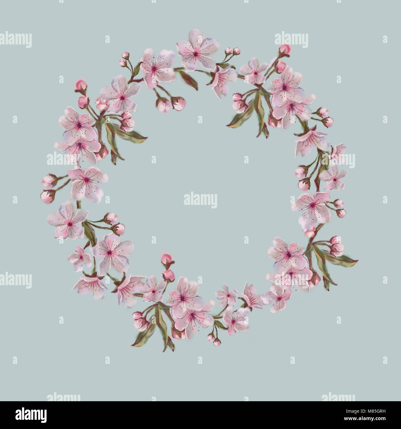 Watercolor Floral Wreath Isolated on Blue. Spring Blossom Wreath for ...