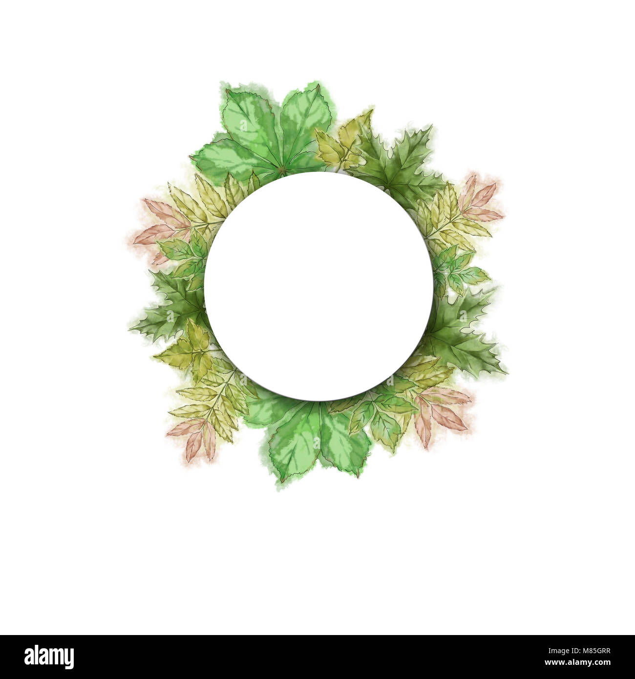 round template with green leaf wreath tree leaves wreath with white
