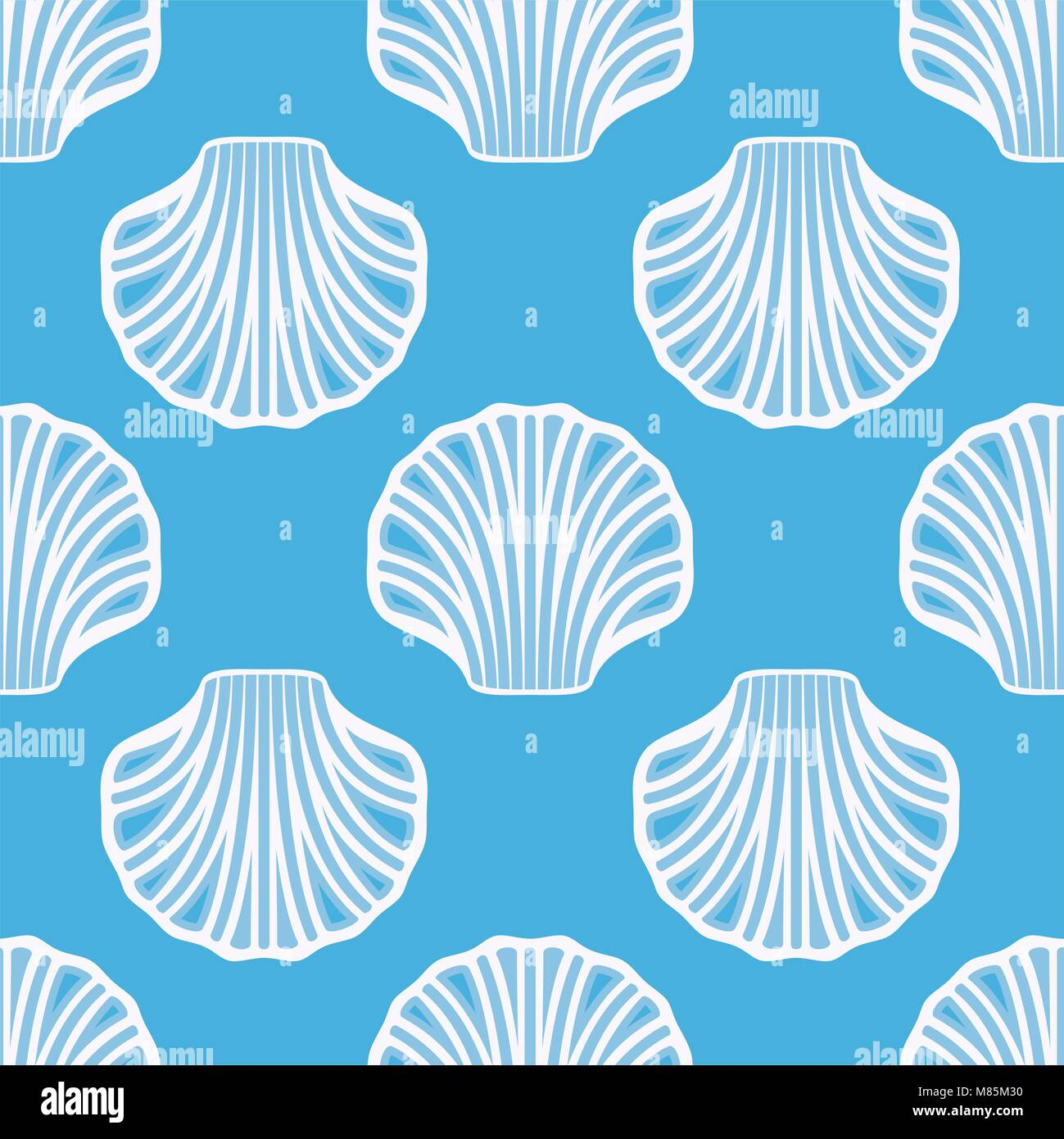 Vector sea shell seamless background white seashell symbols on blue vector sea shell seamless background white seashell symbols on blue background ocean scallop animal pictogram simple flat style graphic biocorpaavc Image collections
