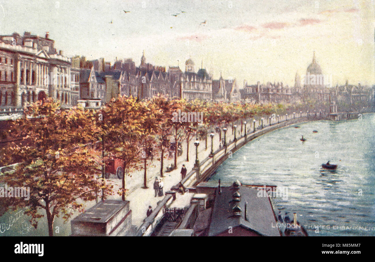 Victoria Embankment Thames Embankment London England Circa 1905