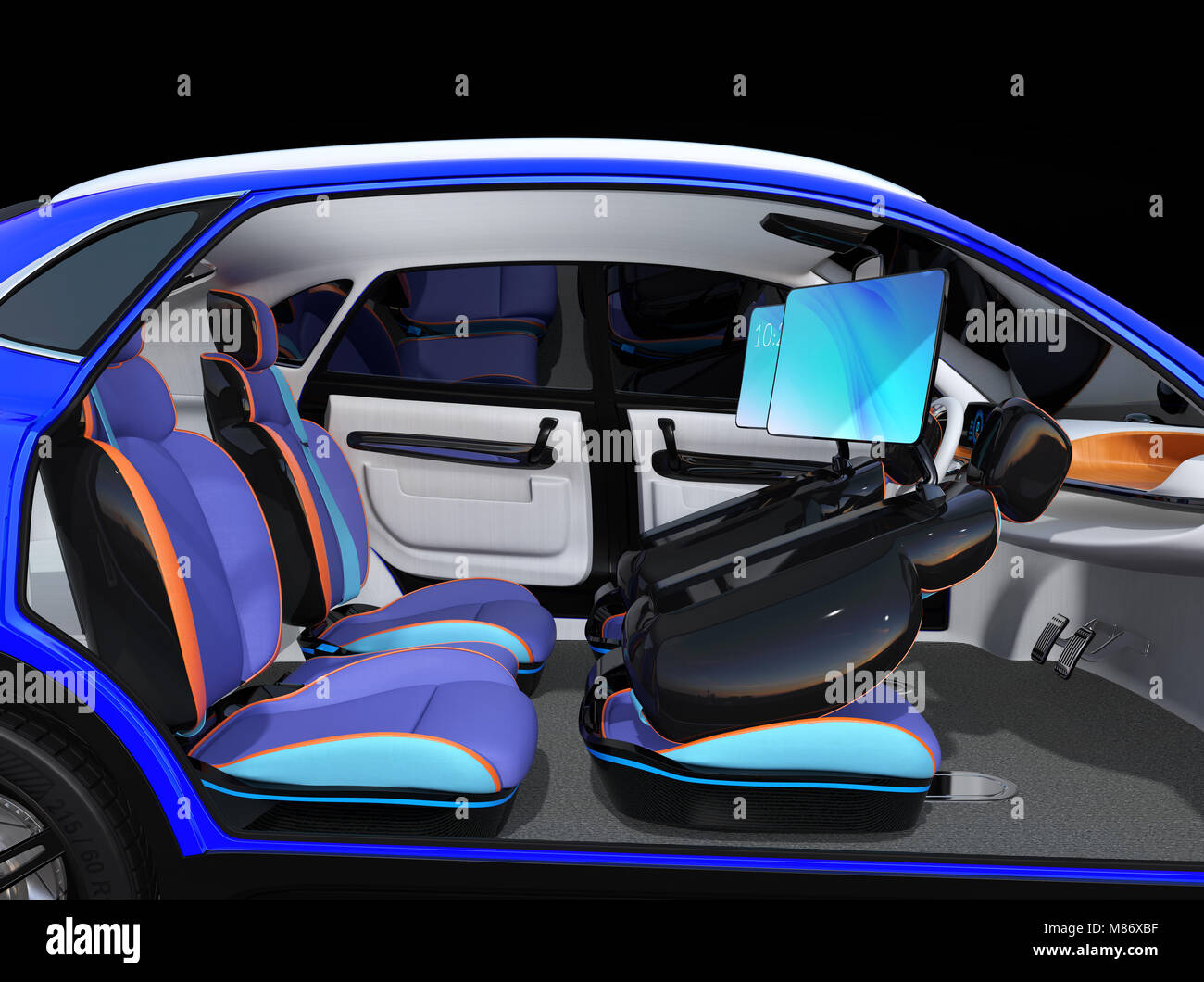 Electric Self Driving Suv Car Interior Design Front Seats Are Stock