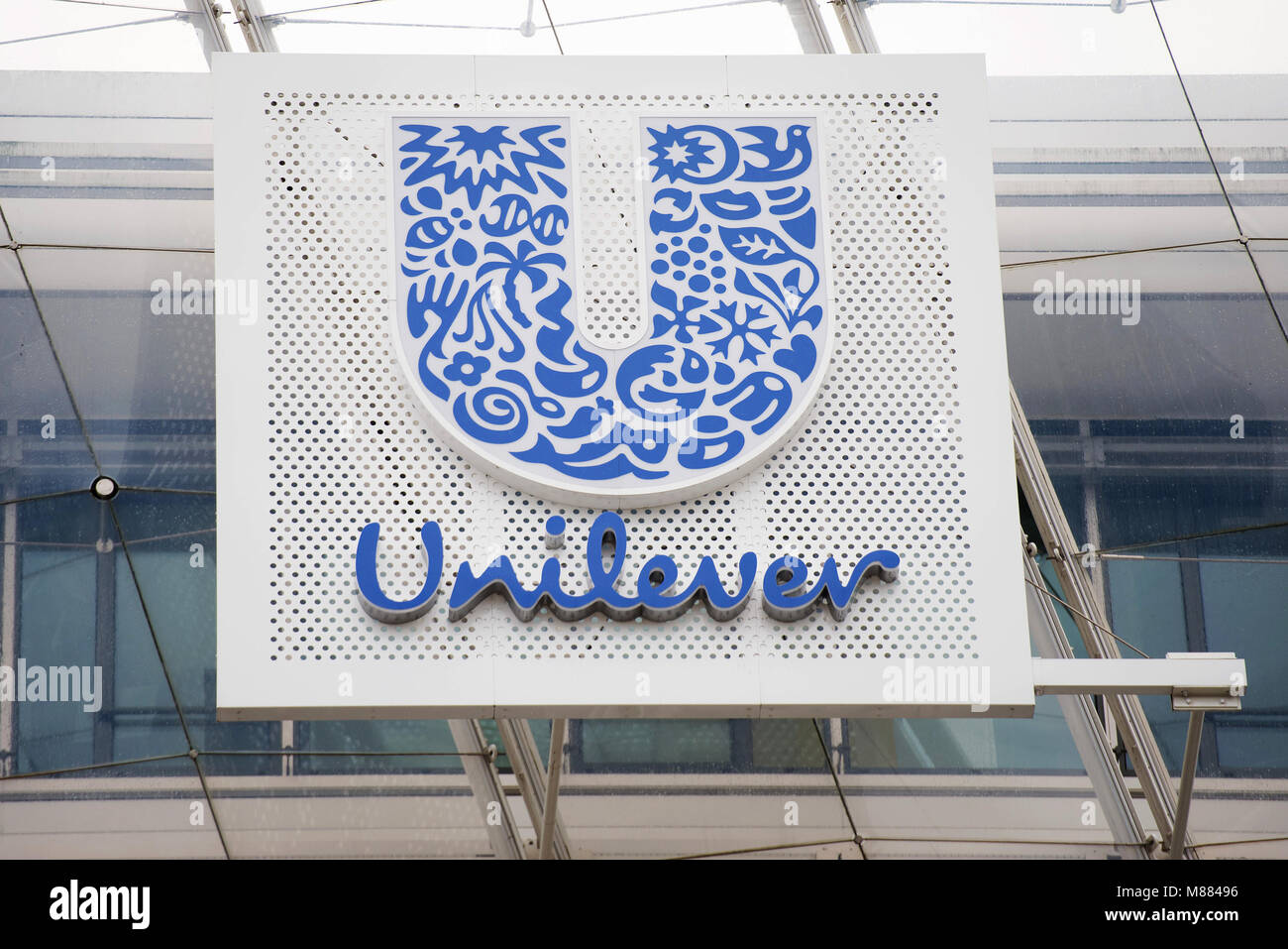 Unilever logo stock photos unilever logo stock images alamy filed 01 august 2017 germany hamburg the unilever logo at the headquarters biocorpaavc Images