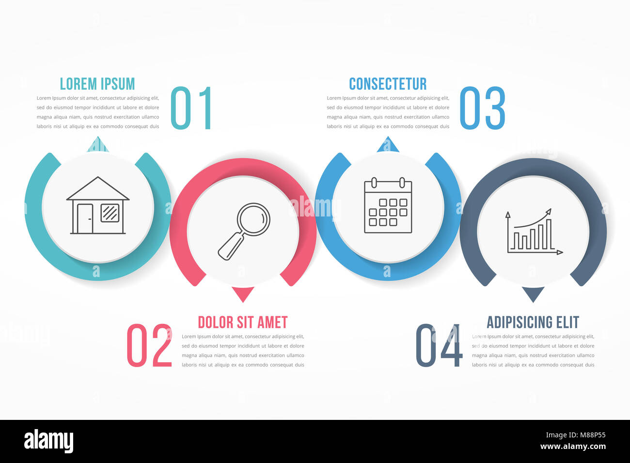 Process diagram template with circles flowchart or workflow with process diagram template with circles flowchart or workflow with four elements steps or options business infographics vector eps10 illustration cheaphphosting Choice Image