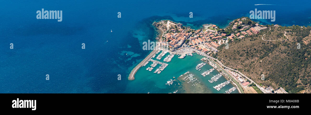 Talamone Italy Map.Aerial Image Of The Beautiful Town And Small Port Of Talamone At The
