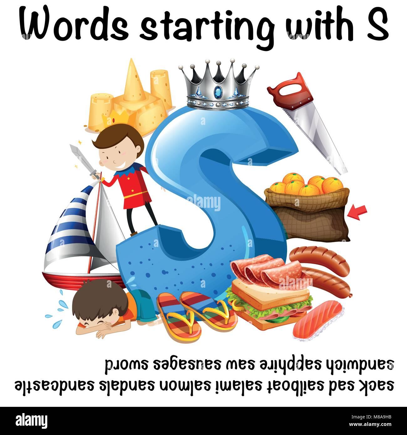 Worksheet design for words starting with S illustration Stock Vector ...
