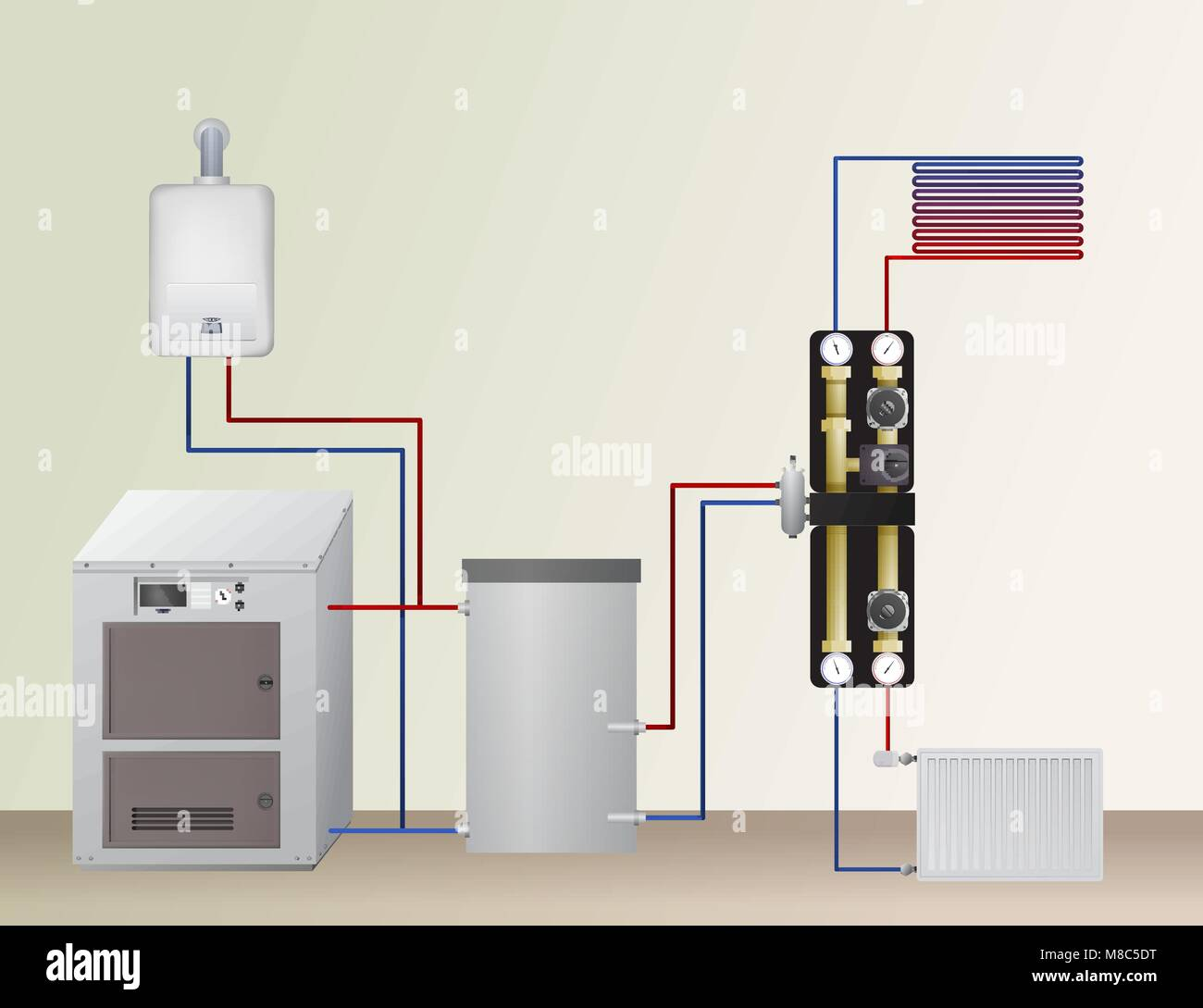 Solid fuel and gas boiler in the heating system Stock Vector Art ...