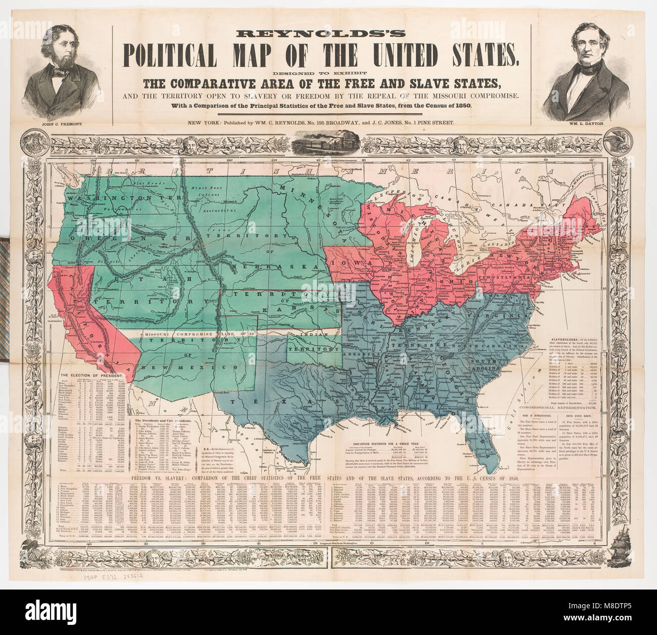 Political Map of the United States, 1856 Stock Photo: 177325741 - Alamy