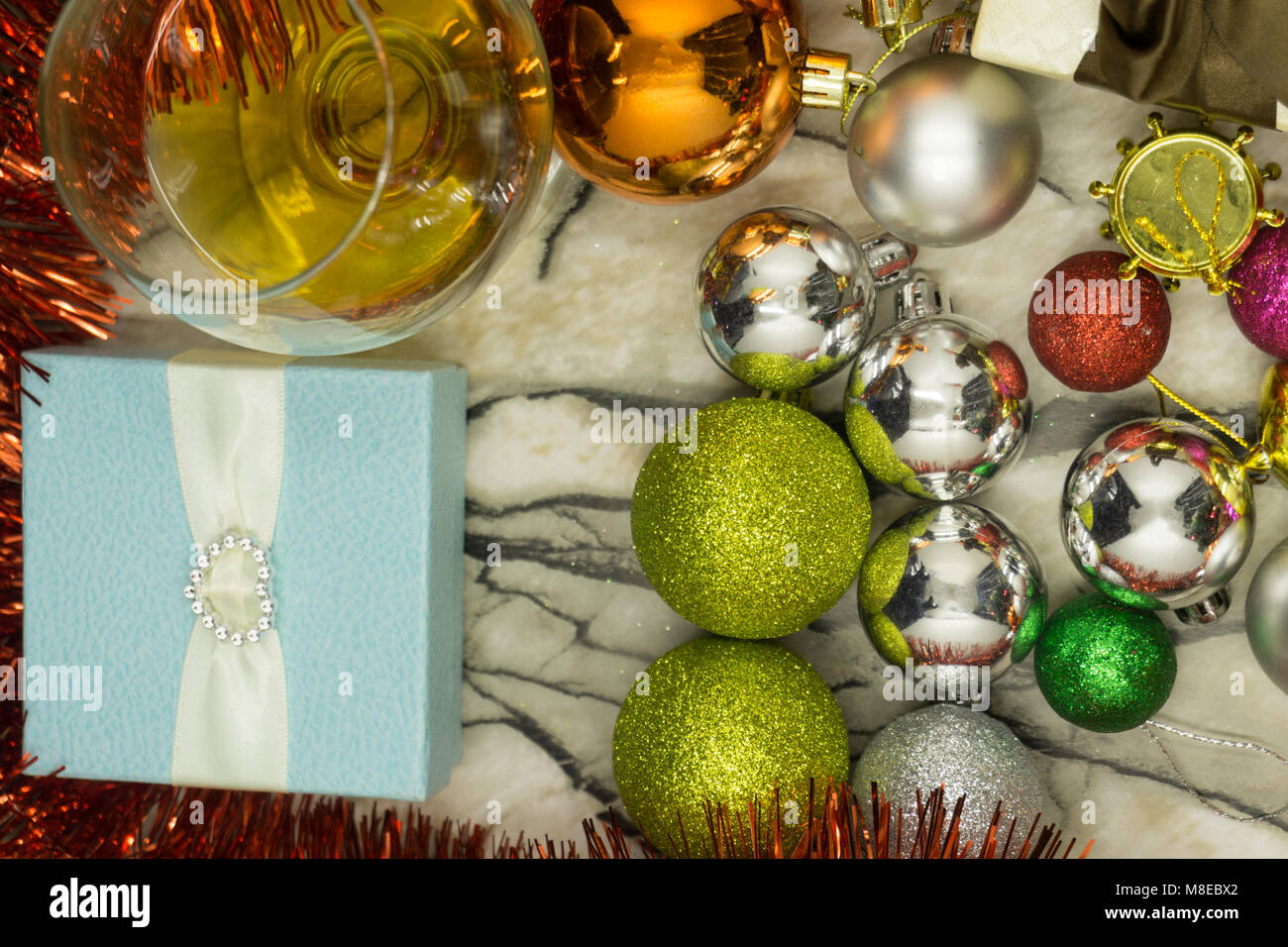 Christmas Christmas gifts and decorations against the background of ...