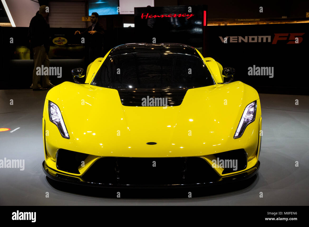 GENEVA, SWITZERLAND   MARCH 7, 2018: Hennessey Venom F5 Sports Car Debut At