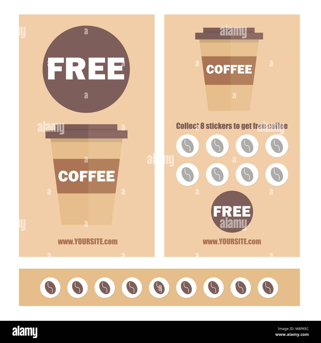 a gift coffee voucher or discount coupon vector flat voucher stock