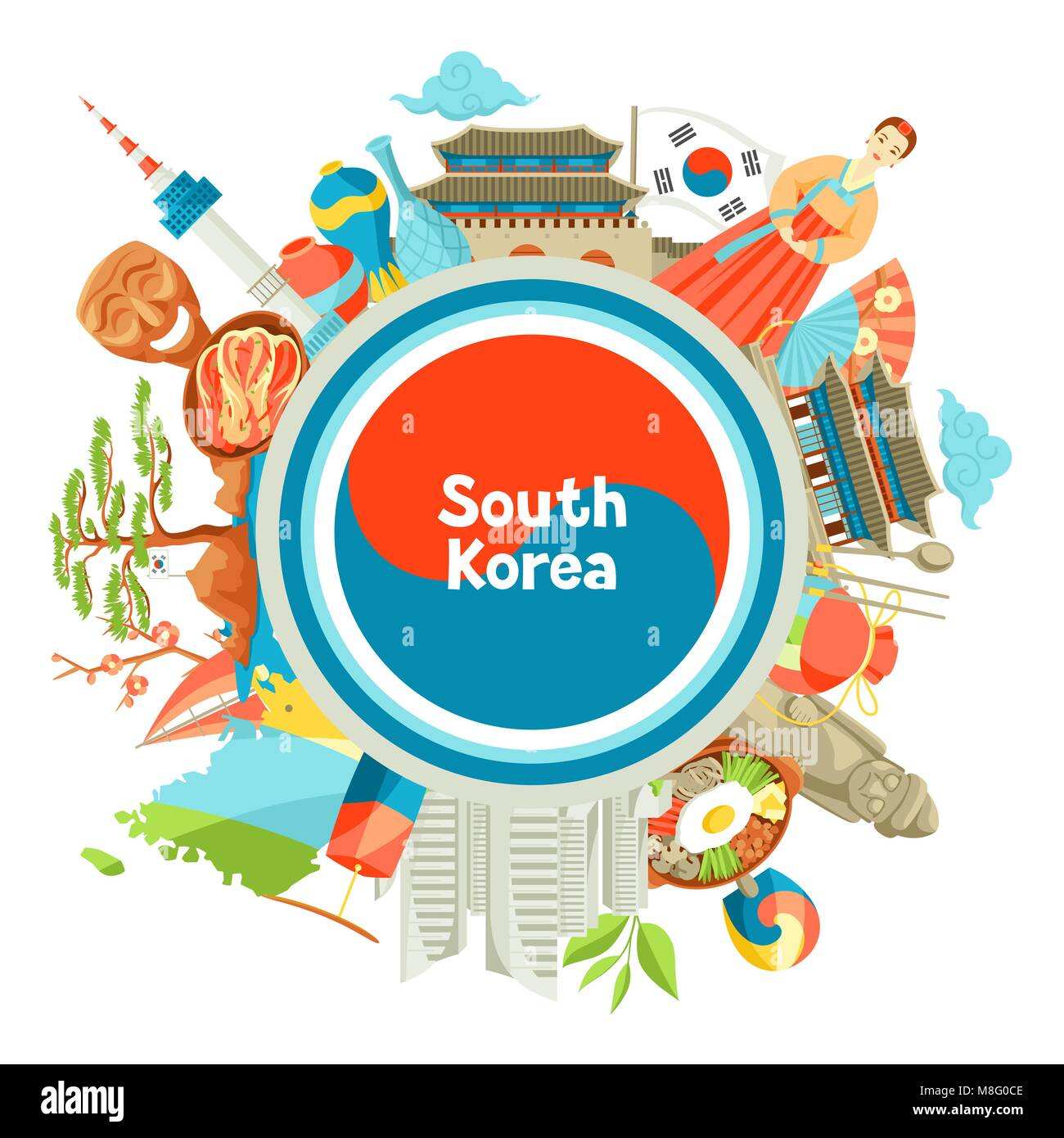 South korean culture cut out stock images pictures alamy south korea background design korean traditional symbols and objects stock image biocorpaavc Image collections