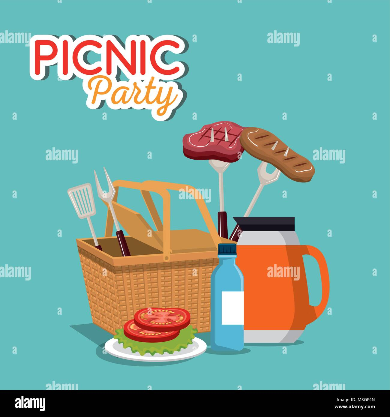 Picnic party invitation set icons vector illustration design stock picnic party invitation set icons vector illustration design stopboris Choice Image