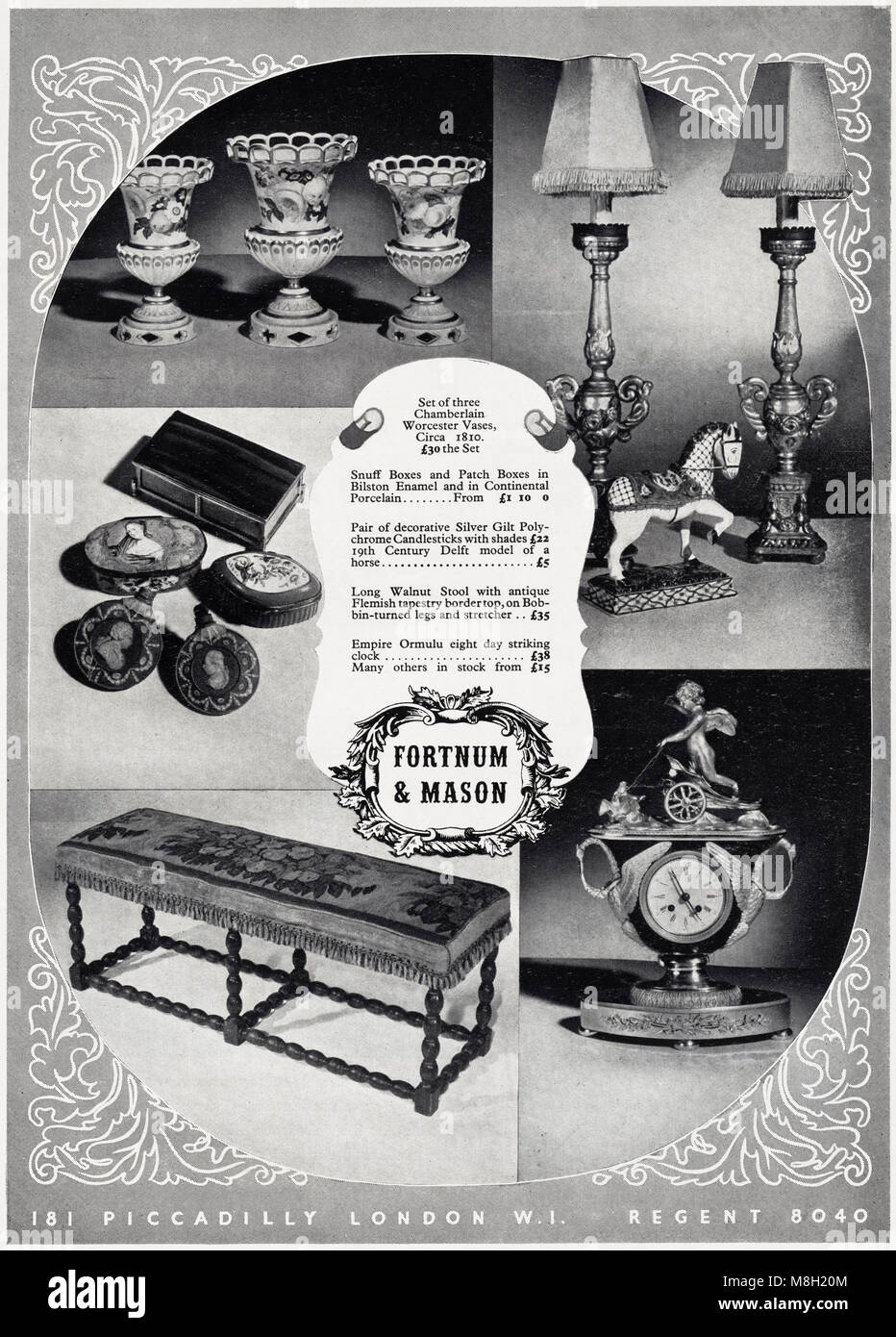 1950s Original Old Vintage Advertisement Advertising Luxury Household Items From Fortnum Mason Of Piccadilly London England UK In English Magazine Circa