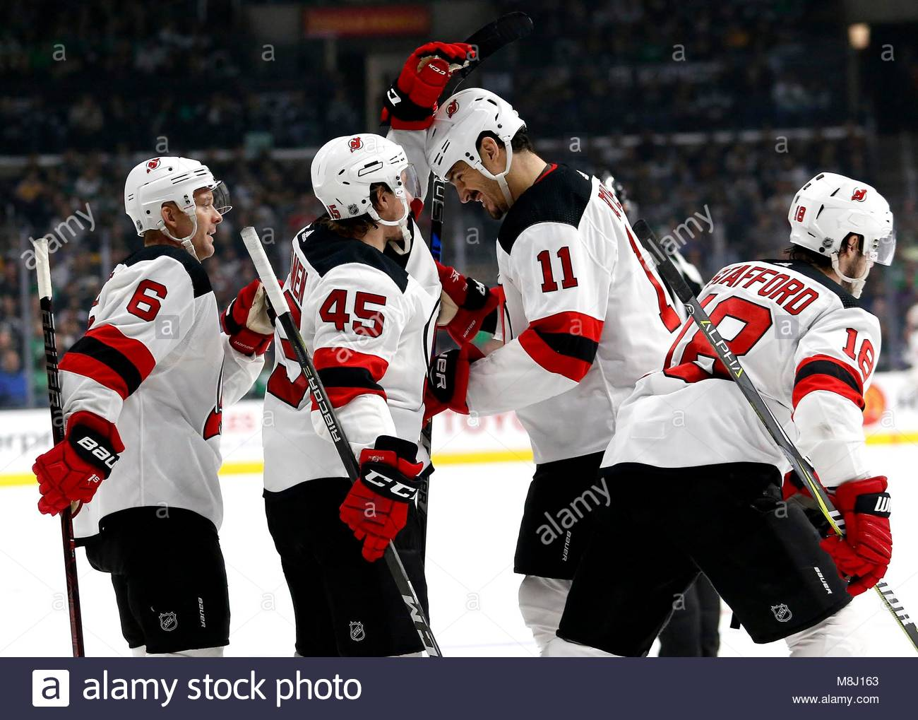 New Jersey Devils  forward Brian Boyle (2nd R) celebrates with teammates  after scoring on Los Angeles Kings during a 2017-2018 NHL hockey game in  Los ... 4bb1e7162