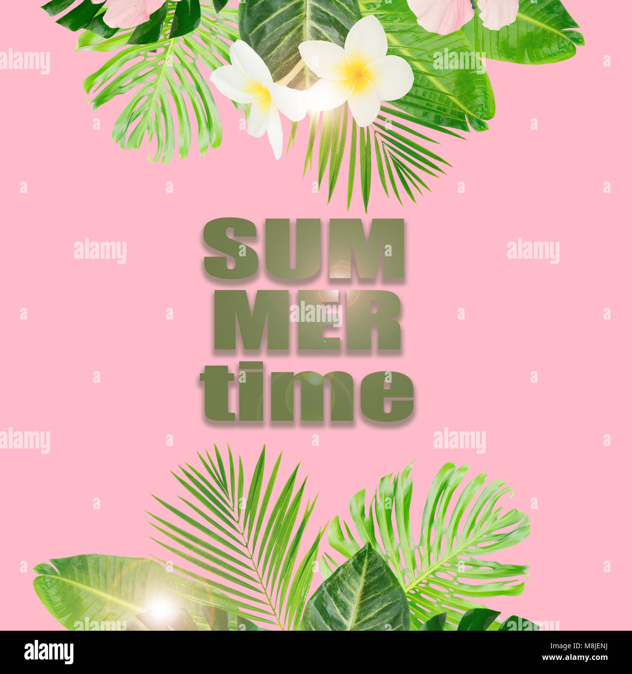 Tropical Green Leaves And Flowers Borders On Pink Background With