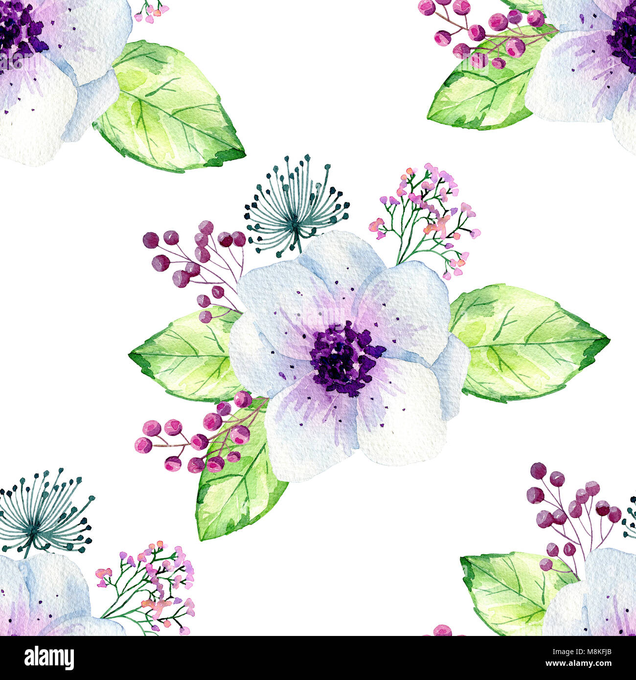 Watercolor seamless floral background. Colorful bouquet of flowers ...