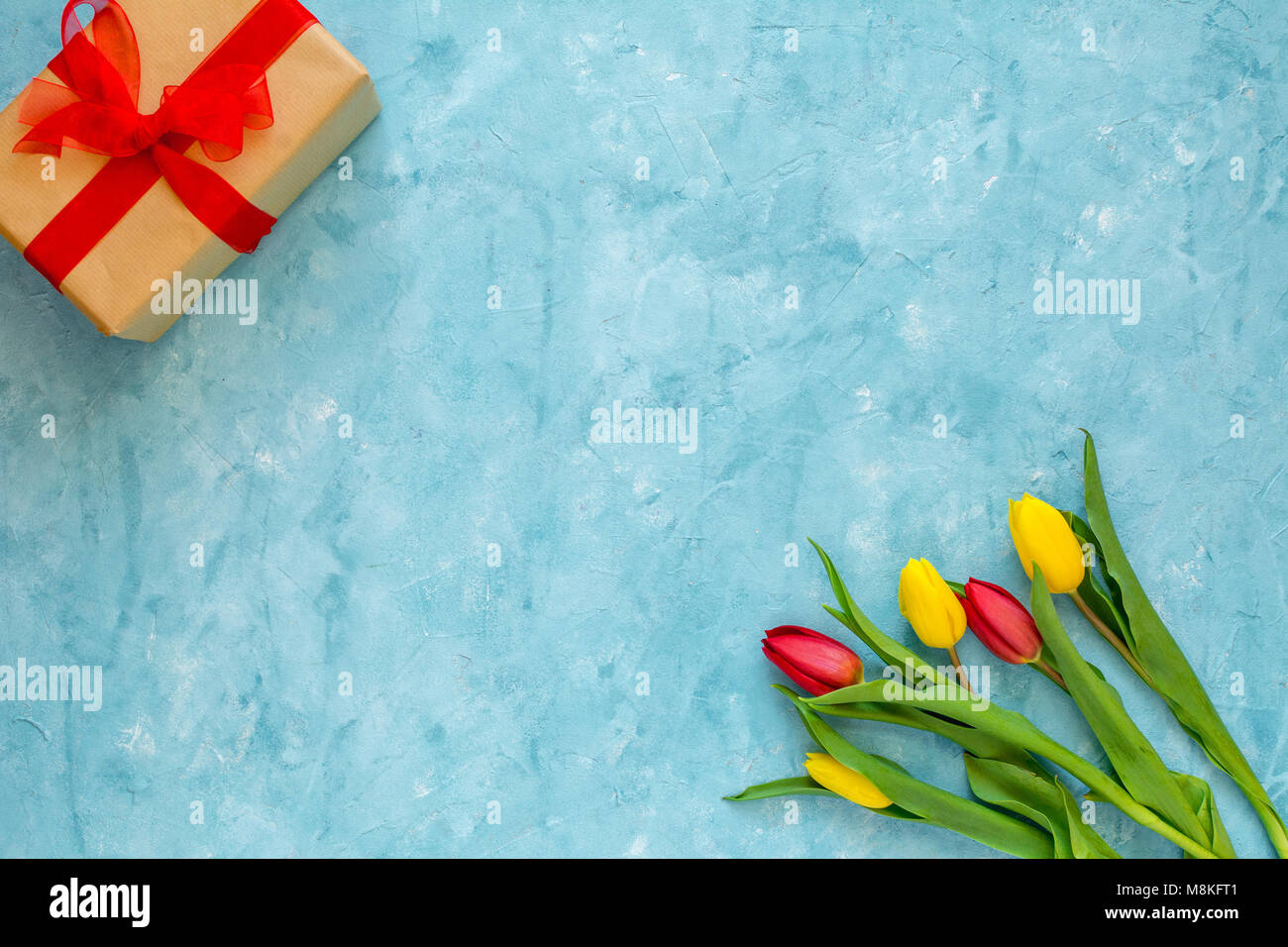 Background For Birthday Woman Day Or Mothers Fresh Tulips Spring Flowers Copy Space