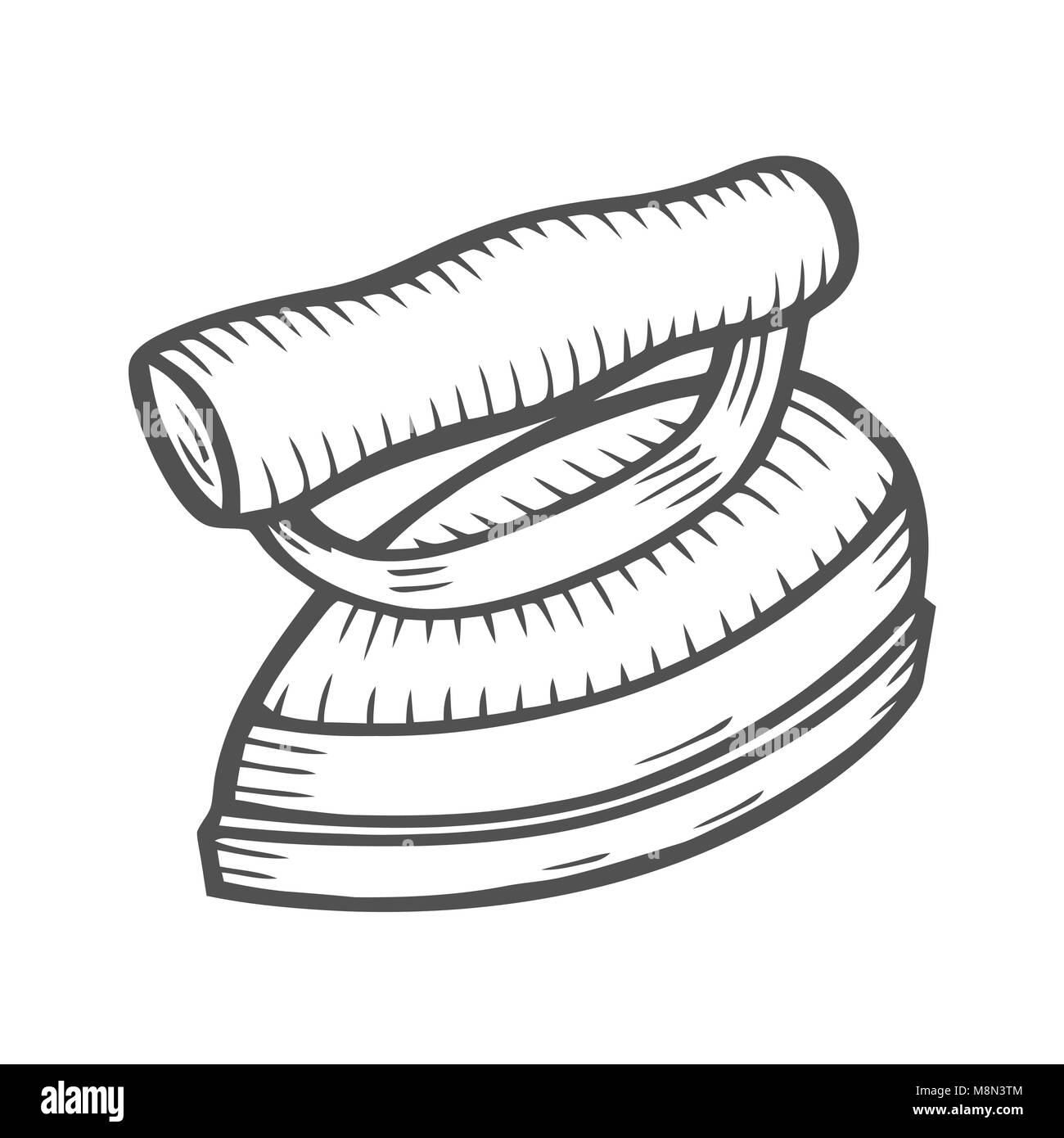 vector hand drawn illustration of box iron isolated on white stock