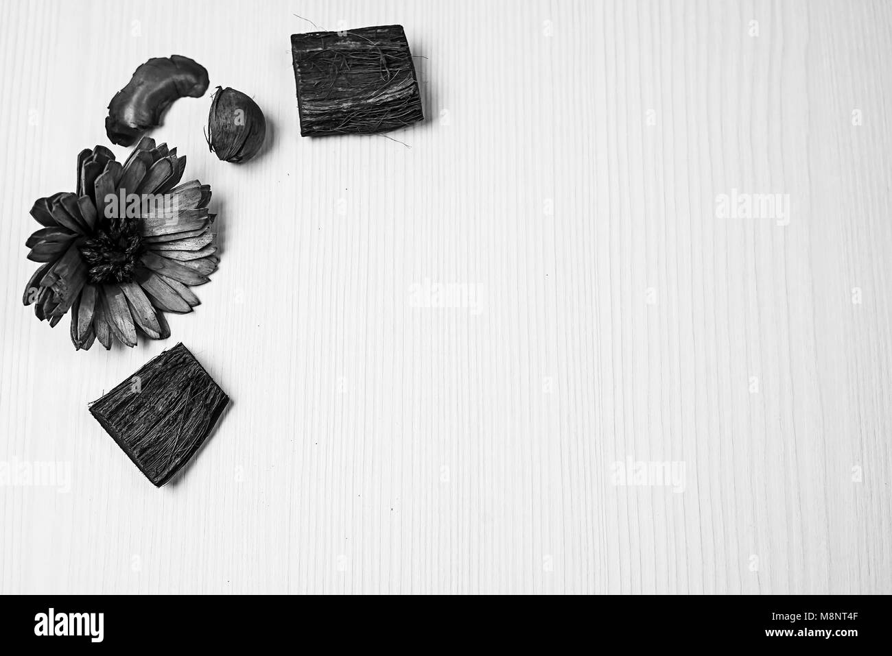 The Frame Of Dried Flowers Black And White Poster Stock Photo