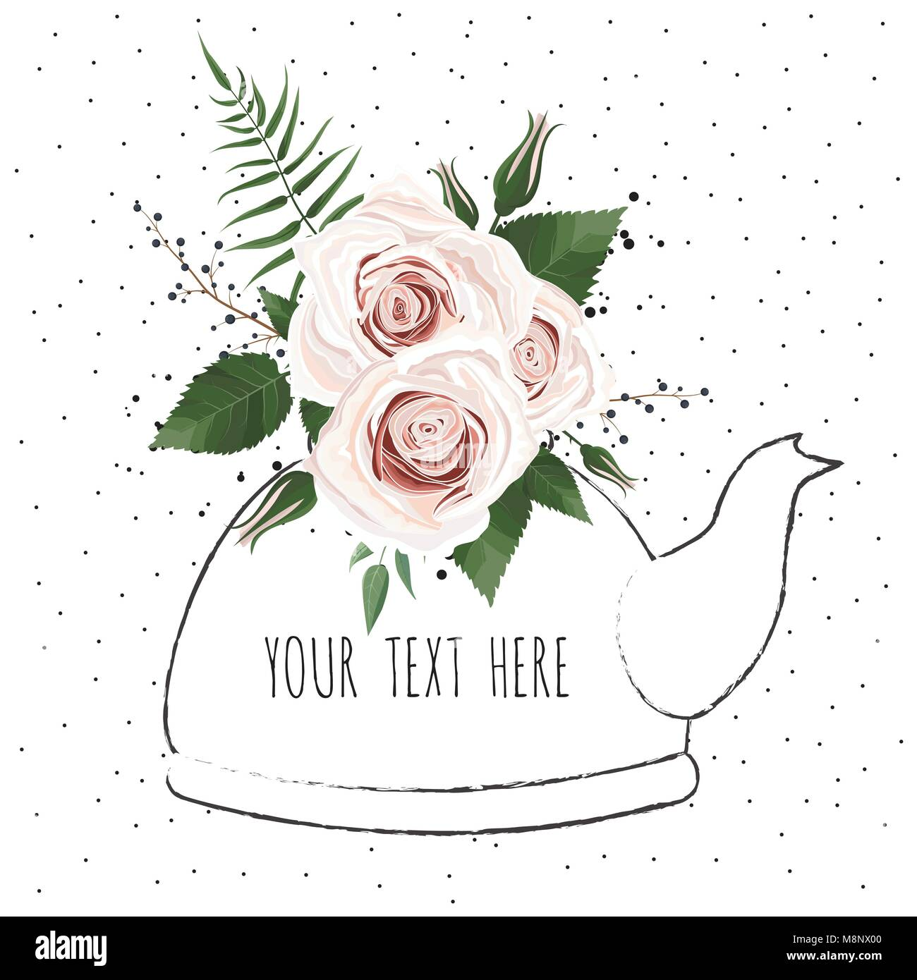 Cute illustration with a bouquet of flowers in a teapot . Vector ...