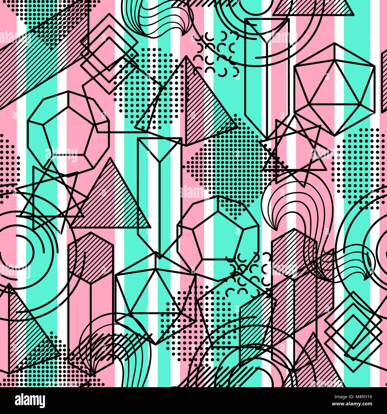 seamless pattern with abstract geometric shapes. line art background