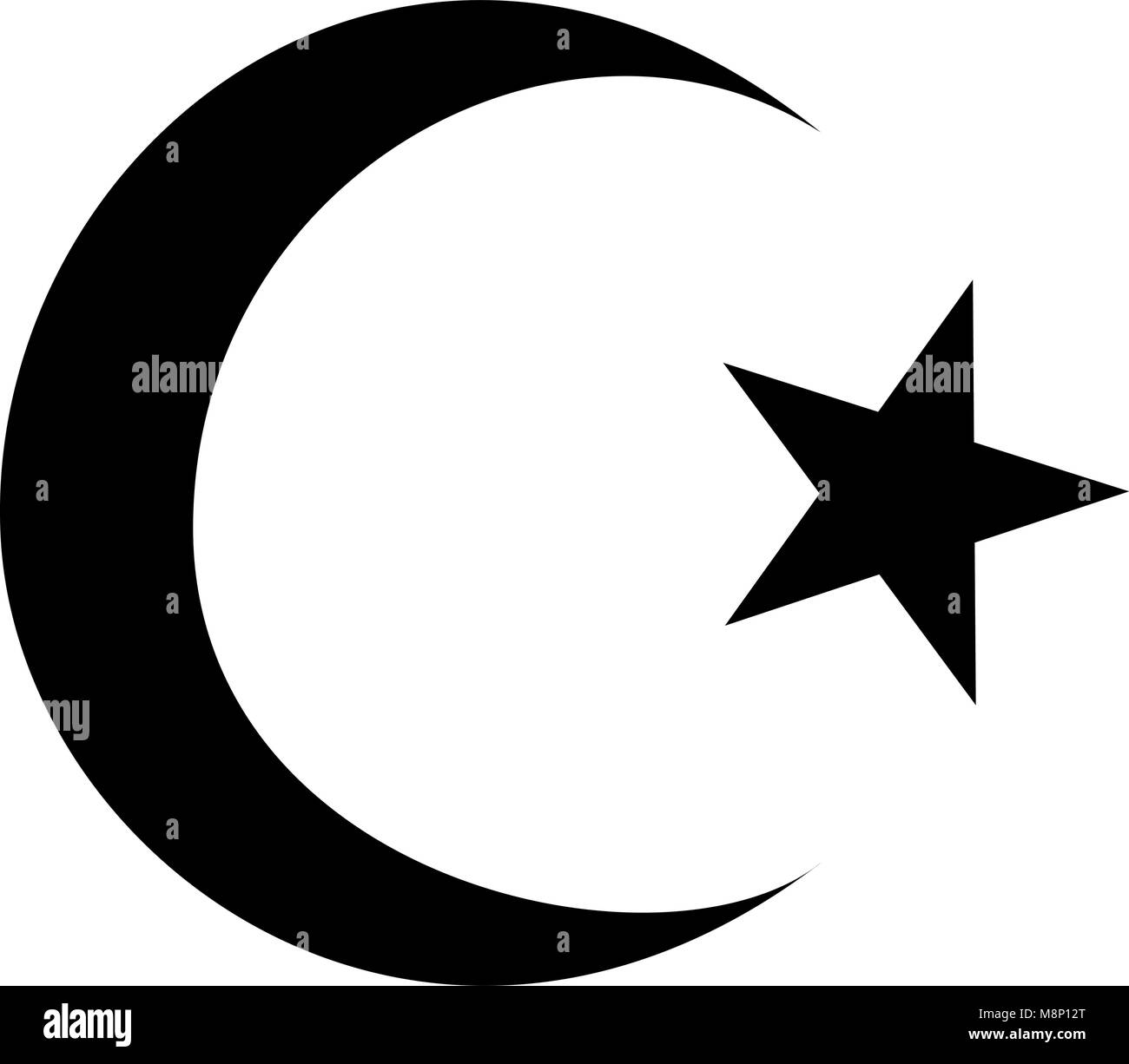Crescent star symbol islam stock photos crescent star symbol symbol of islam crescent and star with five corners icon black color vector illustration flat style biocorpaavc