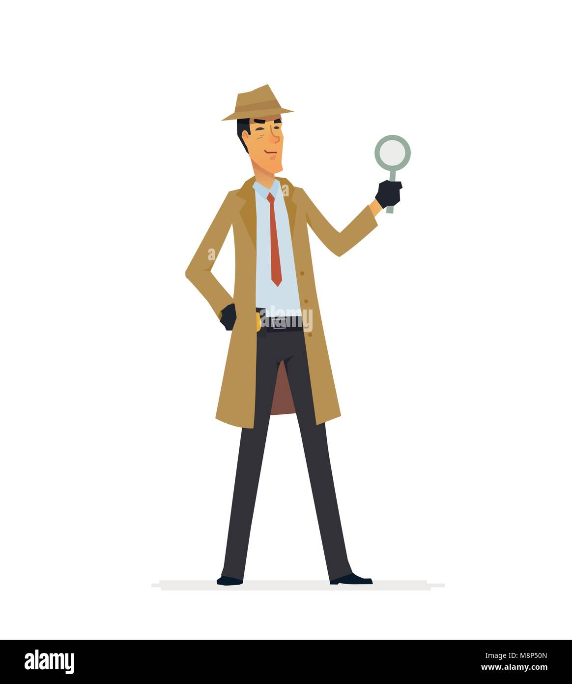 private detective cartoon people characters illustration stock