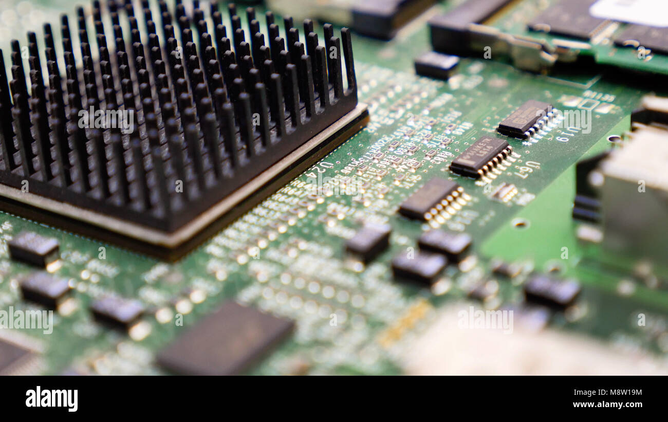 electronic printed circuit board with many electrical components rh alamy com Circuit Board Parts Identification Circuit Board Connector Types