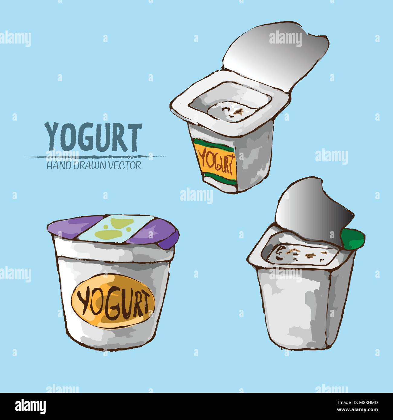 Yogurt Line Drawing : Cartoon illustration fresh fruit yogurt stock photos