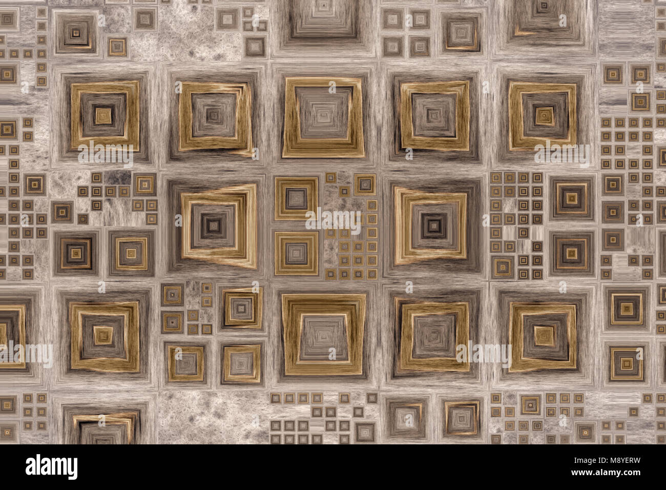 Grid of different size squares like a picture frames on a wooden ...