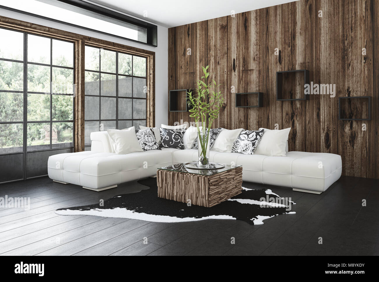 stylish rustic living room with wood paneling on the wall and window frames a hardwood floor corner unit sofa and animal skin rug lit by large view - Wood Paneling With Wood Floor