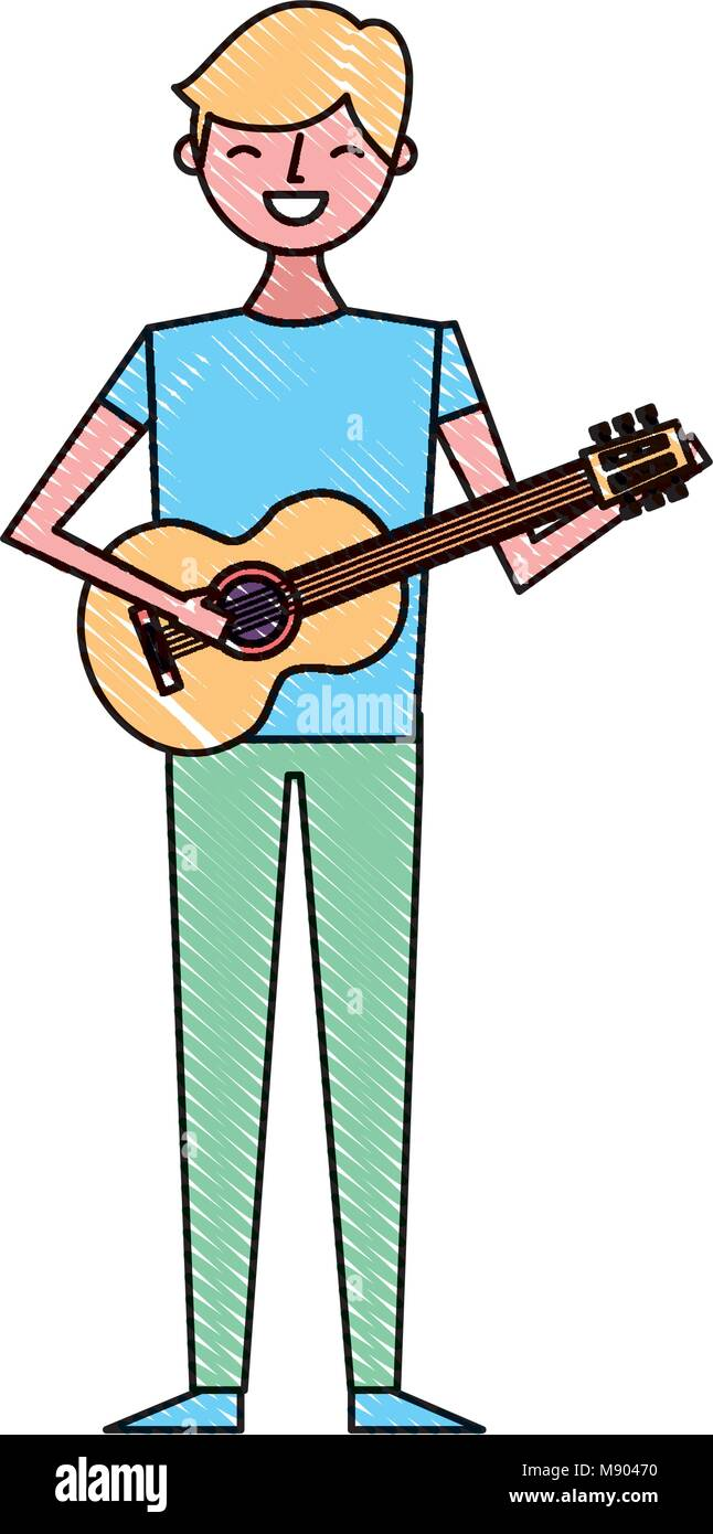 Young Musician Man Playing Guitar Vector Illustration Drawing Color